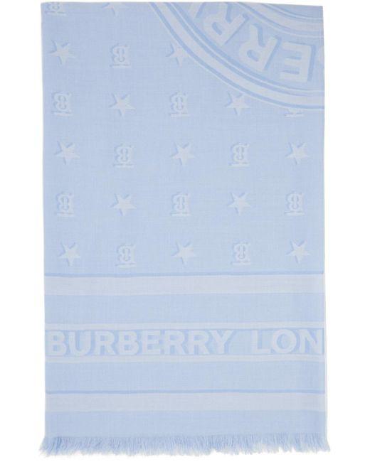 Burberry ブルー シルク モノグラム スカーフ Blue