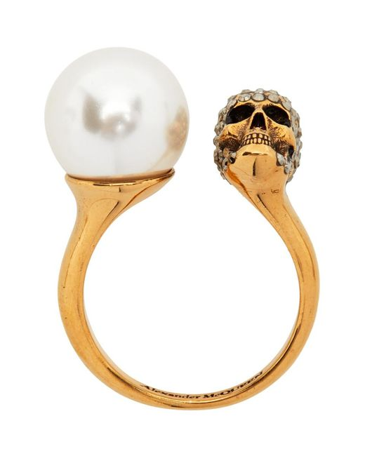 Alexander McQueen ゴールド Pearl And Skull リング Metallic