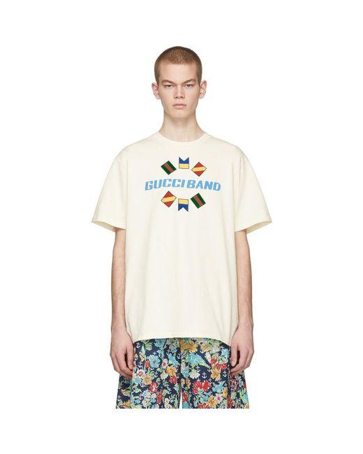 メンズ Gucci オフホワイト Band T シャツ White