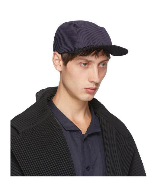 メンズ Homme Plissé Issey Miyake ネイビー And ブラック プリーツ キャップ Black