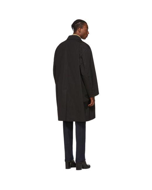 メンズ Random Identities ブラック カー コート Black