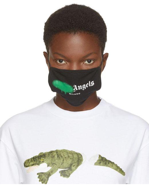 Palm Angels ブラック & グリーン スプレー ロゴ マスク Multicolor