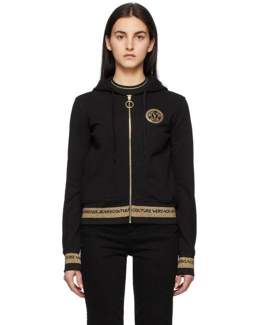 Versace Jeans ブラック V Emblem フーディ Black