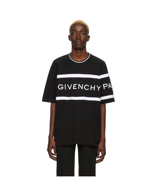 メンズ Givenchy ブラック オーバーサイズ ロゴ バンド T シャツ Black