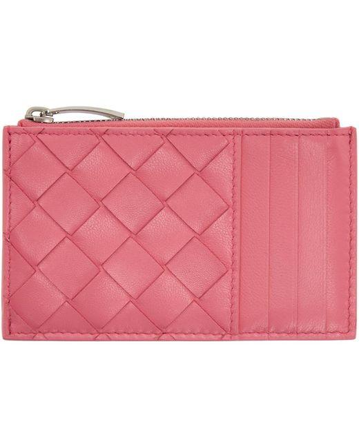 Bottega Veneta ピンク イントレチャート ジップ カード ケース Pink