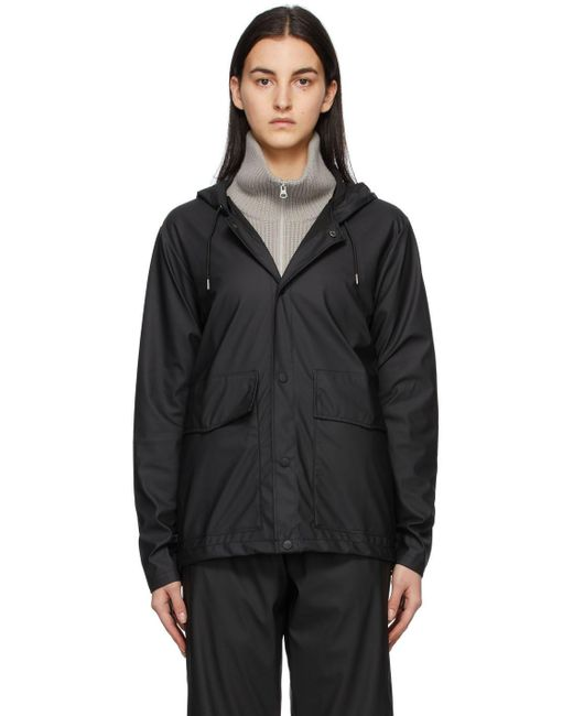 Rains ブラック ショート フード ジャケット Black