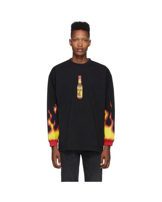 メンズ Vetements ブラック Hot Sauce T シャツ Black