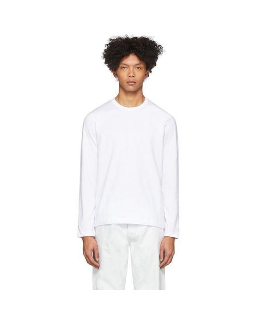 メンズ Comme des Garçons ホワイト プレイン ロング スリーブ T シャツ White