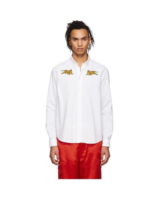 メンズ KENZO ホワイト ジャンピング タイガー シャツ White