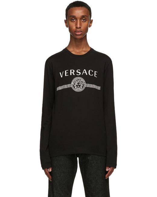 メンズ Versace ブラック Medusa ロング スリーブ T シャツ Black