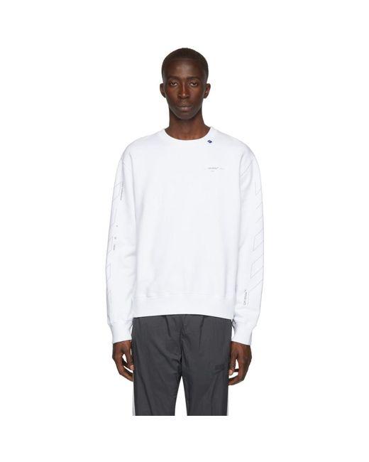 メンズ Off-White c/o Virgil Abloh ホワイト And シルバー Diag Unfinished スリム スウェットシャツ White