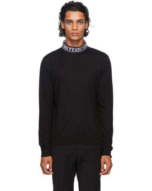 メンズ Fendi ブラック ウール モック ネック セーター Black