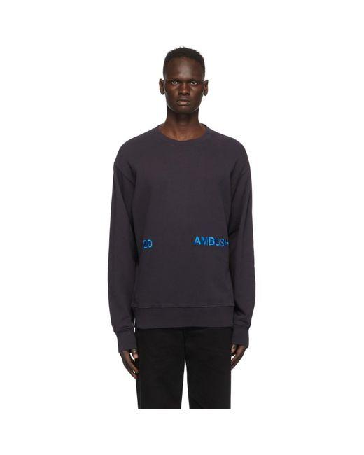 メンズ Ambush ネイビー ロゴ クルーネック スウェットシャツ Blue