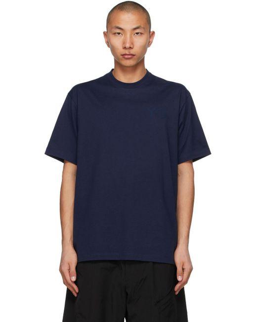 メンズ Y-3 ネイビー ロゴ T シャツ Blue