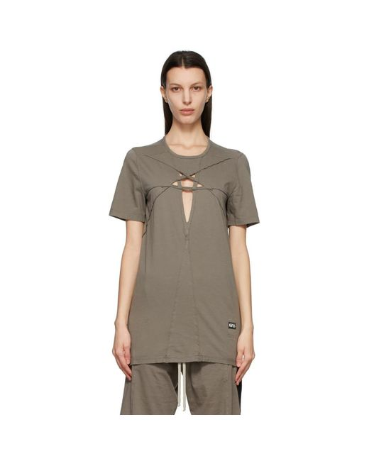 Rick Owens Drkshdw グレー Cut-out Level T シャツ Gray