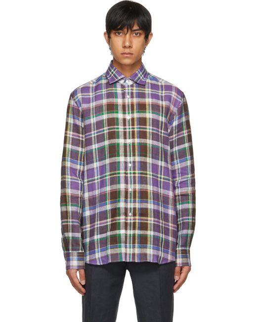 メンズ Ralph Lauren Purple Label パープル プレイド シャツ Multicolor