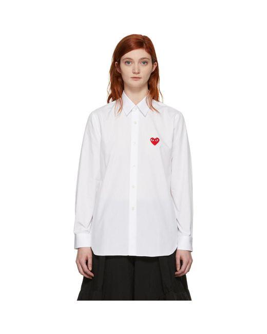 COMME DES GARÇONS PLAY ホワイト メンズ フィット ハート パッチ シャツ White