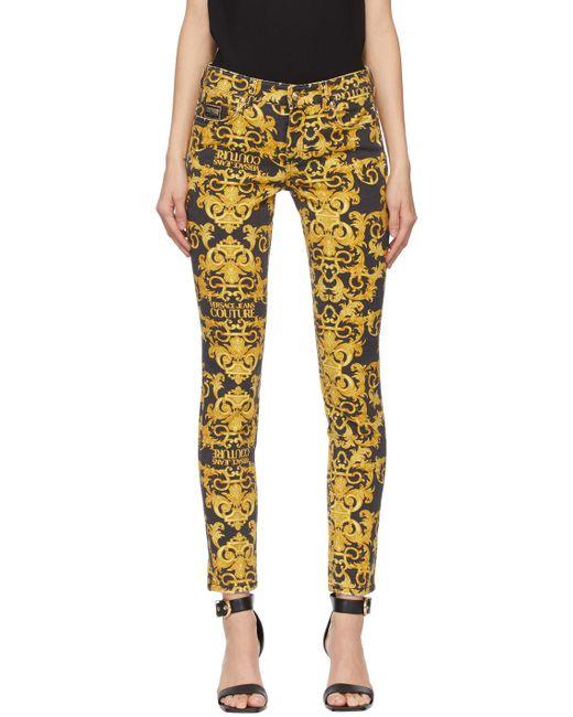 Versace Jeans ブラック New Baroque ジーンズ Yellow