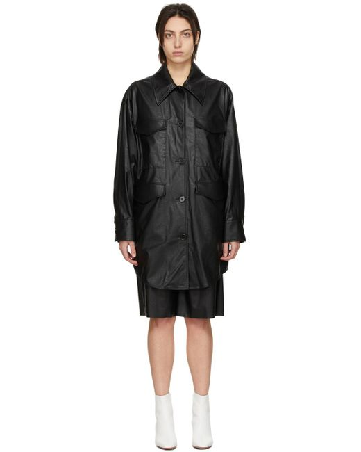 MM6 by Maison Martin Margiela ブラック フェイクレザー オーバーサイズ ジャケット Black