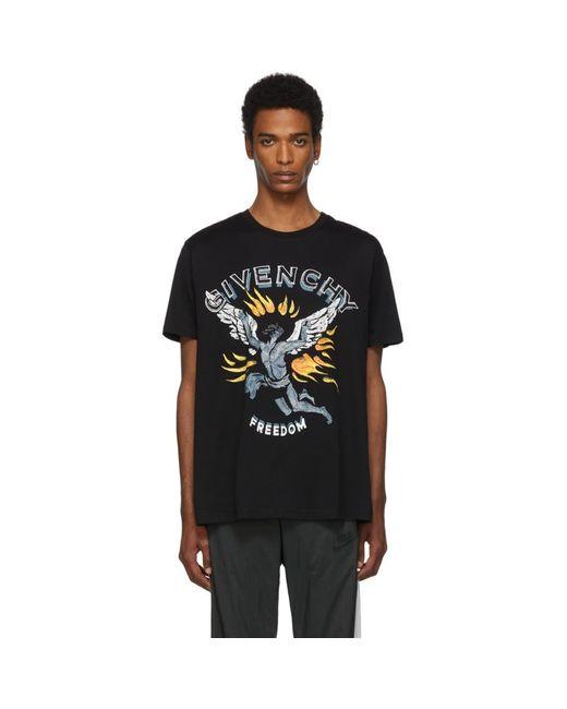 メンズ Givenchy ブラック Freedom イカロス レギュラー フィット T シャツ Black