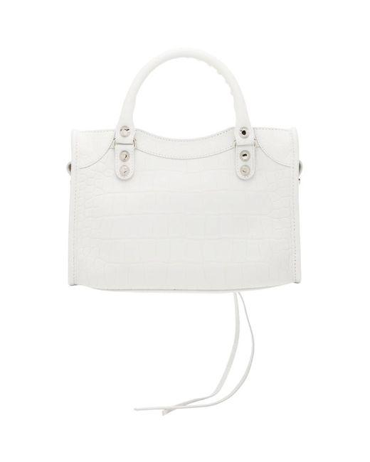 Balenciaga ホワイト クロコ クラシック ミニ City バッグ White