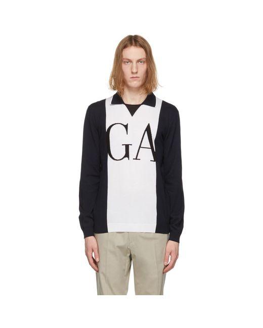 メンズ Giorgio Armani ネイビー And ホワイト ロゴ ロング スリーブ ポロシャツ Blue