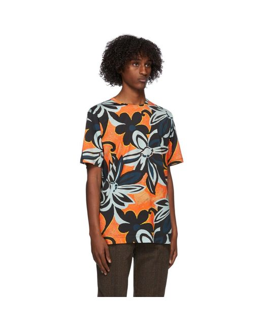 メンズ Dries Van Noten マルチカラー グラフィック ラウンド ネック T シャツ Multicolor