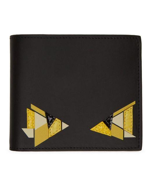 メンズ Fendi ブラック And イエロー デジタル バッグ バグ クラシック ウォレット Black