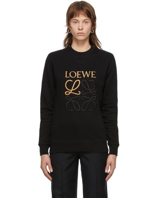 Loewe ブラック エンブロイダリー アナグラム スウェットシャツ Black