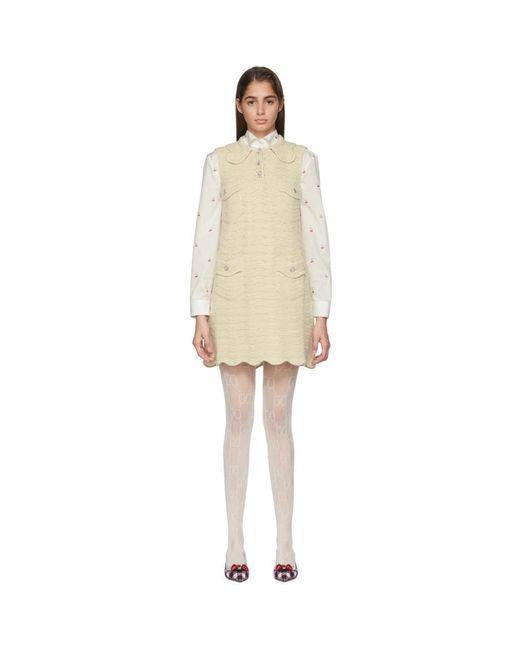 Gucci オフホワイト クロシェ ウール ドレス White