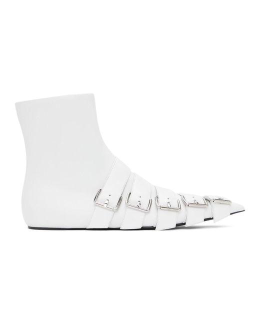 Balenciaga ホワイト Knife バックル ブーツ White