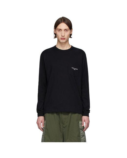 メンズ Comme des Garçons ブラック ロゴ ロング スリーブ T シャツ Black