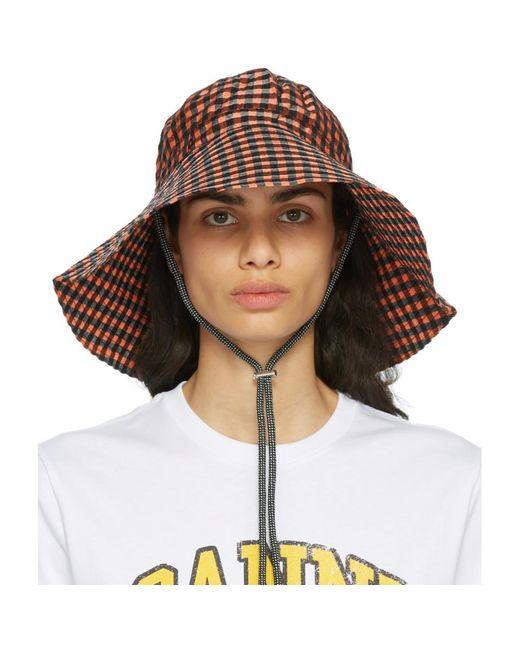 Chapeau en crepon a carreaux orange Ganni en coloris Brown