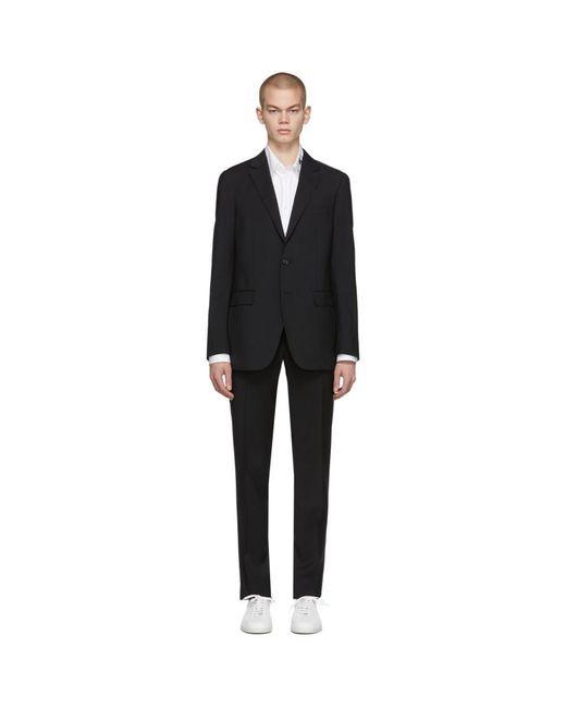 Lanvin Black Natural Stretch Wool Suit for men