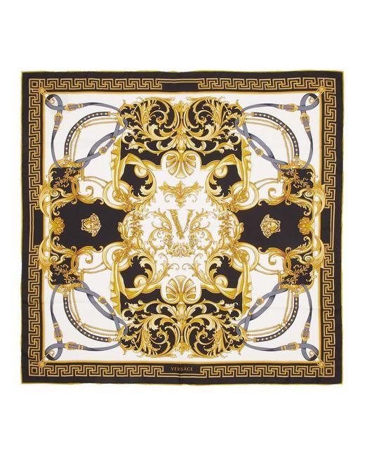 Versace ブラック シルク Barocco スカーフ Black