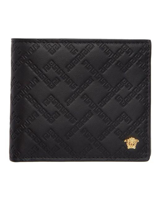Versace Black And Gold Greek Key Wallet for men