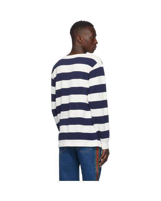 メンズ Gucci ブルー And ホワイト ワッフル ロング スリーブ スウェットシャツ Blue