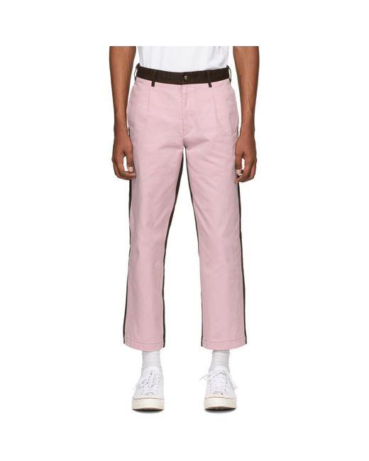 メンズ Noah NYC ピンク And ブラウン シングルプリーツ チノ トラウザーズ Pink