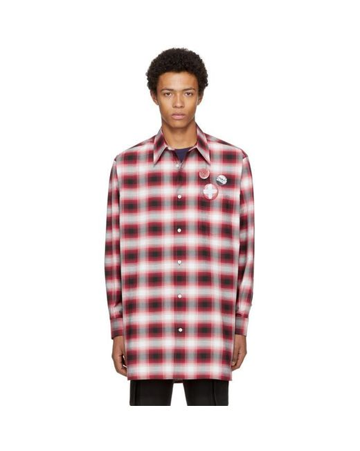 Marc Jacobs Red Oversized Plaid Shirt In Red For Men Lyst