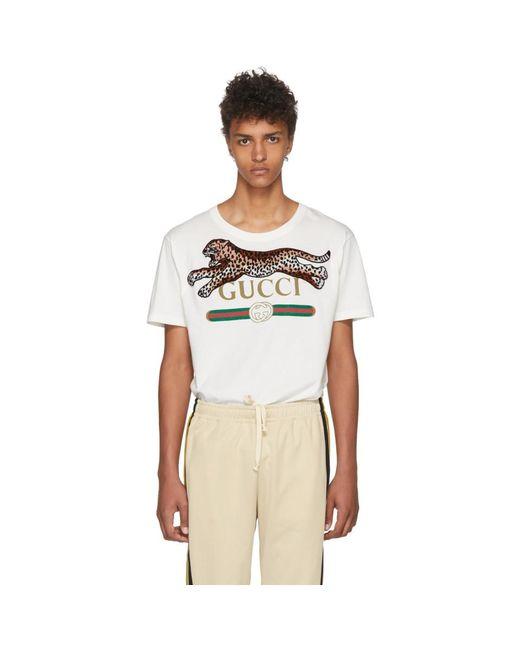 メンズ Gucci オフホワイト レオパード T シャツ White