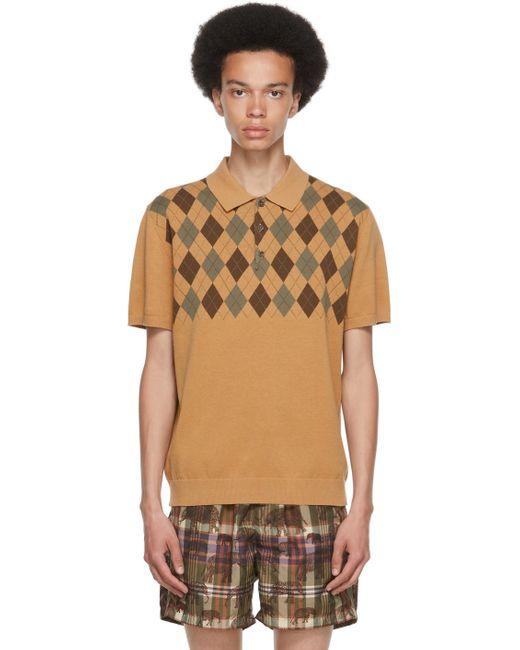 メンズ Beams Plus ベージュ アーガイル ポロシャツ Natural