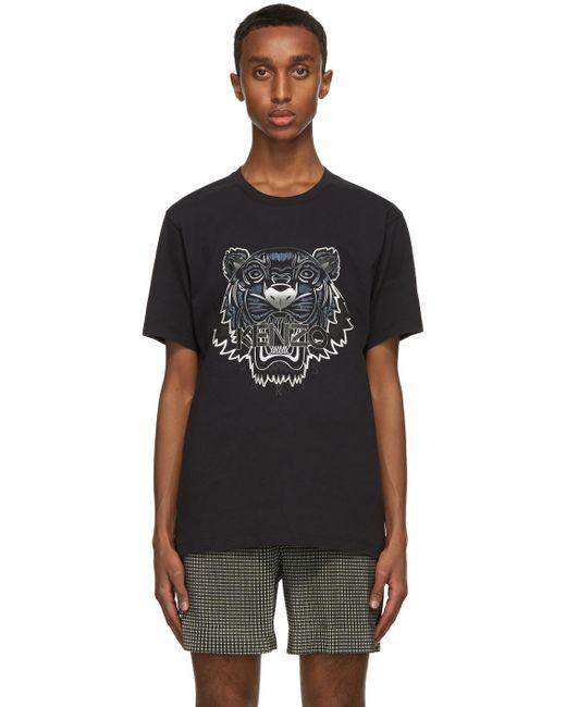 メンズ KENZO ブラック Gradient Tiger T シャツ Black