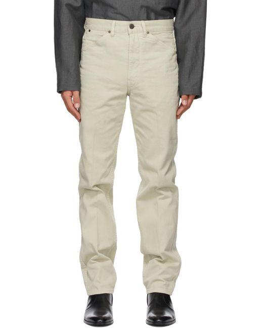 メンズ Lemaire オフホワイト 5 ポケット テーパード ジーンズ Multicolor