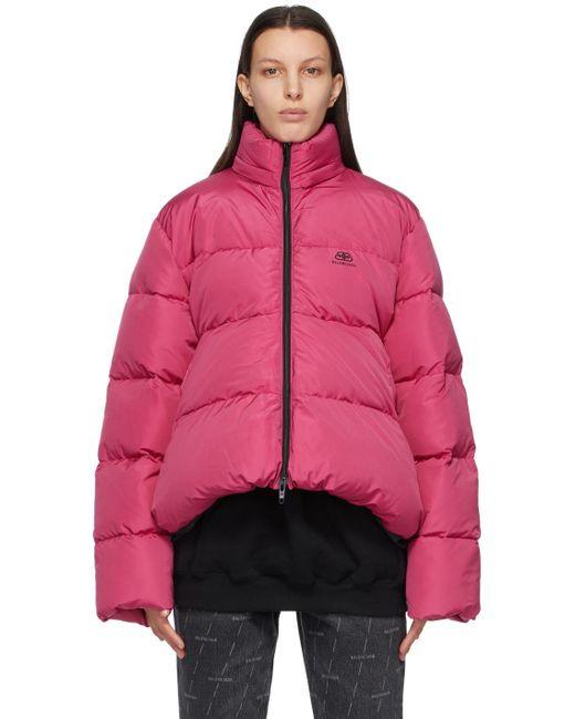 Balenciaga ピンク C-shape Bb パファー ジャケット Pink