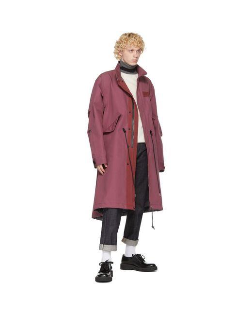 メンズ Sacai ピンク コットン オックスフォード コート Pink