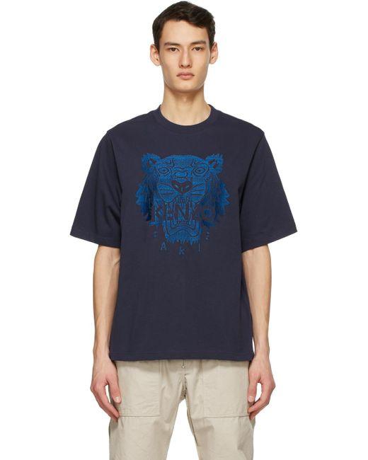 メンズ KENZO ネイビー オーバーサイズ Tiger T シャツ Blue
