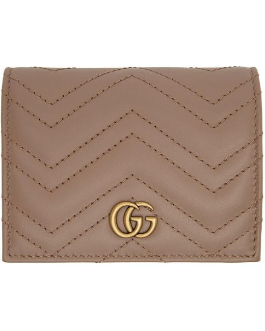 Gucci ピンク GG Marmont カード ケース ウォレット Natural