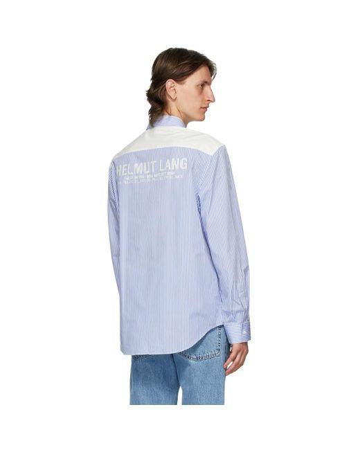 メンズ Helmut Lang ブルー And ホワイト ストライプ ロゴ シャツ Blue