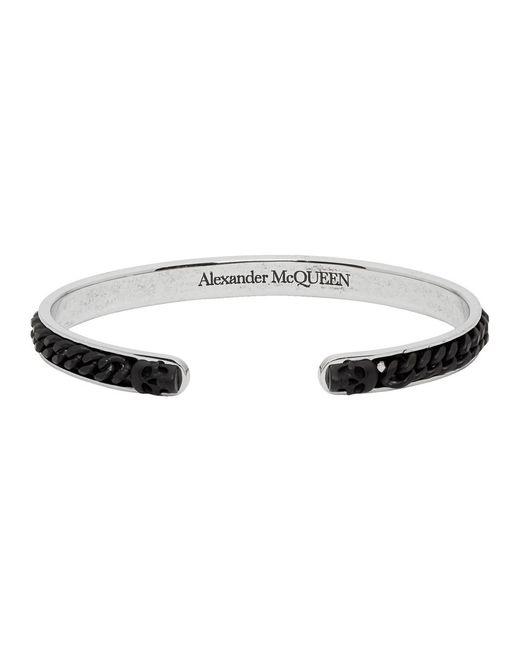 Alexander McQueen Silver And Black Skull Chain Open Bracelet for men