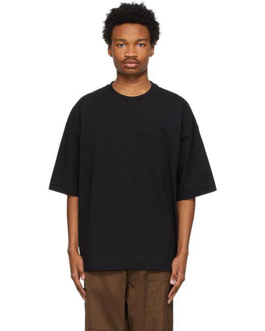 メンズ Dries Van Noten ブラック オーバーサイズ T シャツ Black